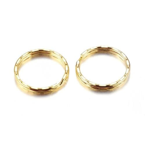 Keyring/Large Split ring, Golden, 25mm (4)